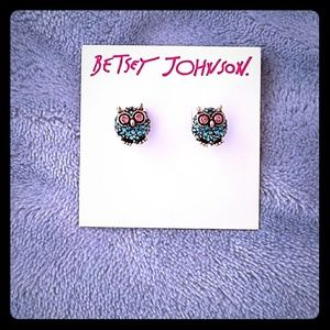 Betsey Johnson Jewelry - Betsey Johnson Blue Pave Owl Stud Earrings